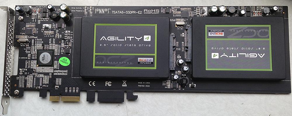 2 OCZ drives, 512 GB auf der Pro-Karte montiert