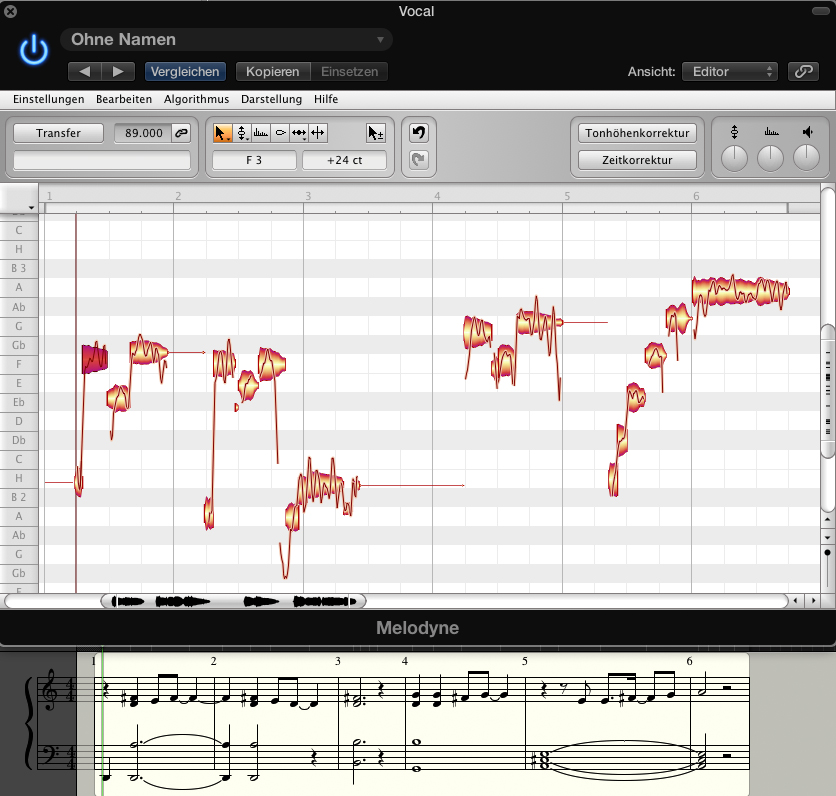 Die unbearbeitete Gesangsaufnahme im Plug-in Fenster.