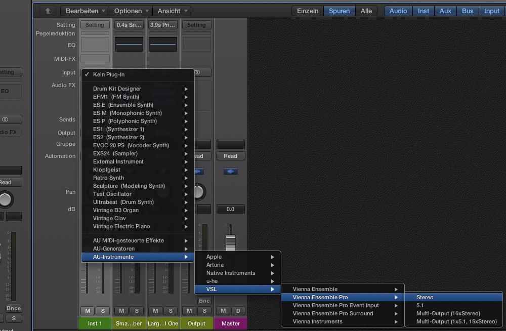 Vienna Ensemble PRO 5 wird in Logic Pro X als AU-Instrument eingesetzt