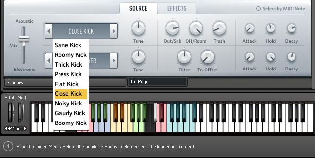 Das Ausklappmenü für akustische Instrumente