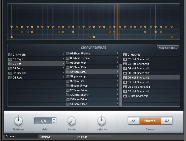 Die Groove Page mit dem Browser