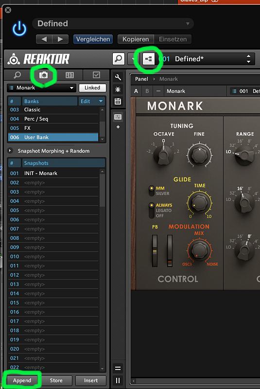 So schaltet man in den Edit-Modus und zeigt die Soundbänke und Snapshots an