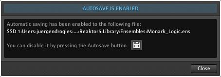 Bestätigung: Automatisches Sichern der Snapshots aktiviert.