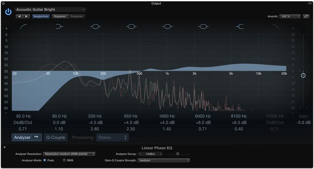 Logic Pro X Linear Phase EQ mit Einstellungen für spezielle Parameter