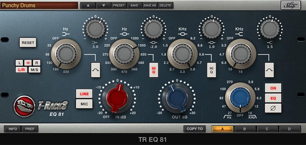 Bass und Höhen etwas angehoben, untere Mitten abgesenkt, obere Mitten leicht verstärkt, Preamp +1 dB