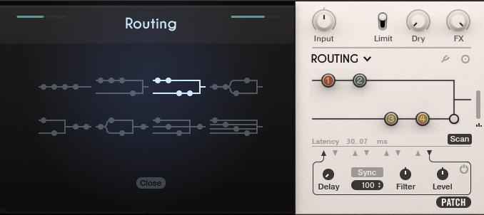 Routing-Bereich mit zusätzlichen Optionen