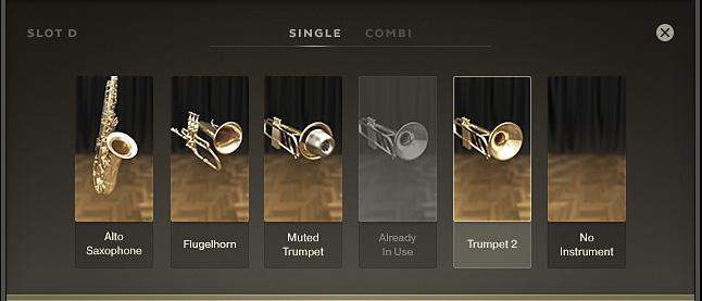Hier kann die eigene Horn Section zusammengestellt werden.