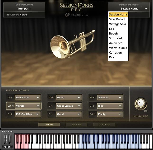 Einzelinstrument mit Sound-Preset-Menü