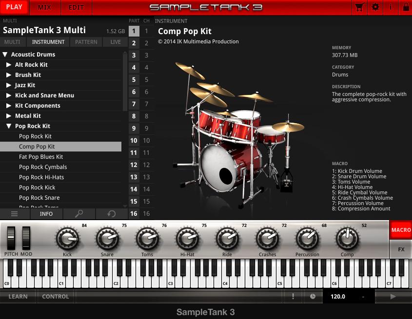 Drumkit mit Beschreibung und Macro-Parameter
