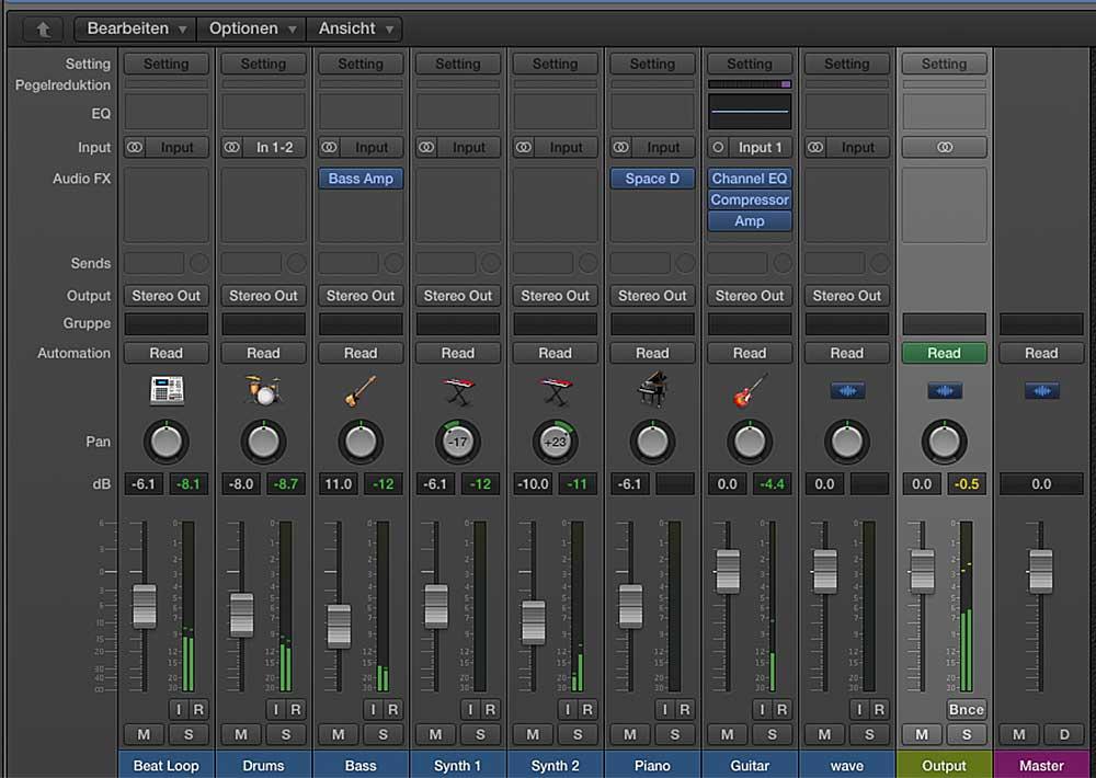 Die Mixer-Ansicht des fortgeschrittenen Projekts