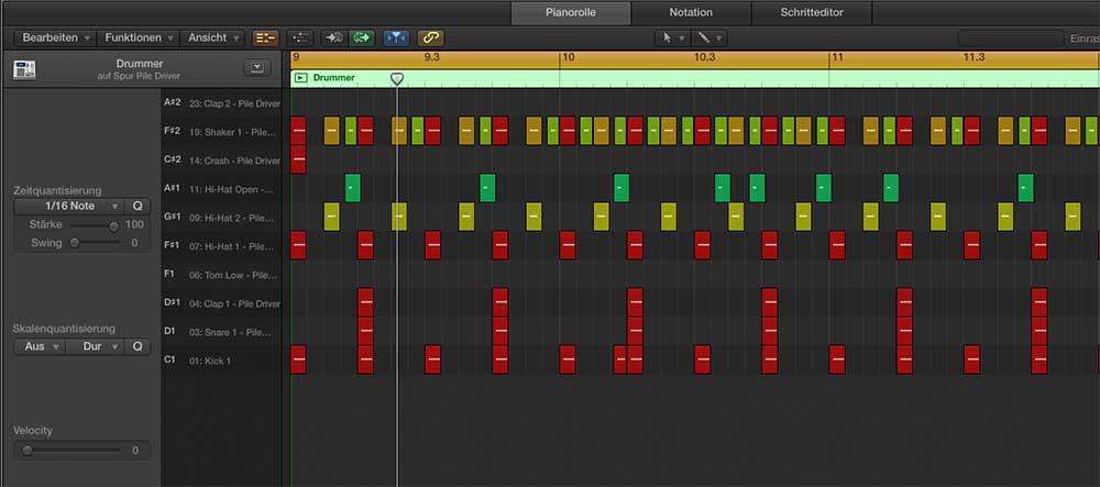 Drummer-Track zu MIDI-Track konvertiert.