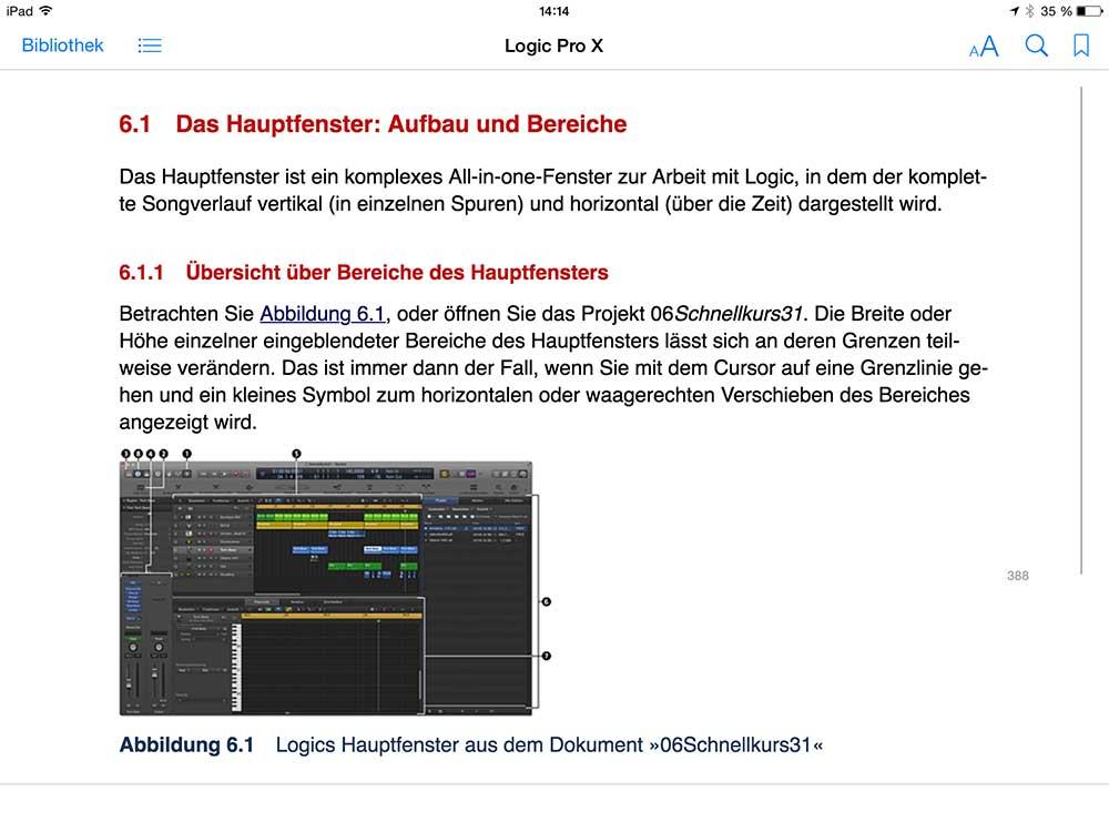 E-Book Darstellung iPad