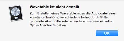 Wavetable nicht erstellt
