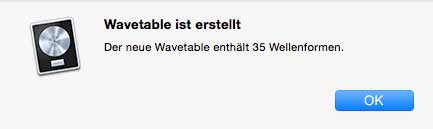 Wavetable mit 35 Wellenformen