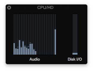 Logic Pro X, CPU-Last, Pi in 18 Kanälen aktiviert