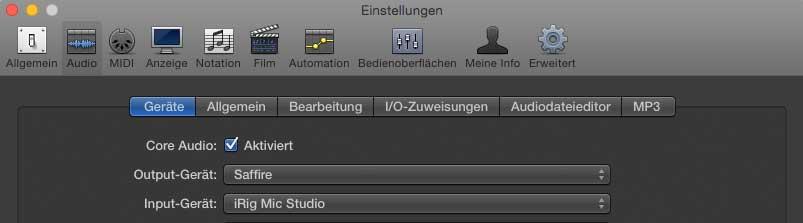 DAW Audioeinstellungen, iRig Mic Studio als Input-Gerät
