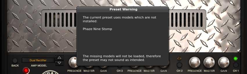 Warnung bei Preset-Auswahl