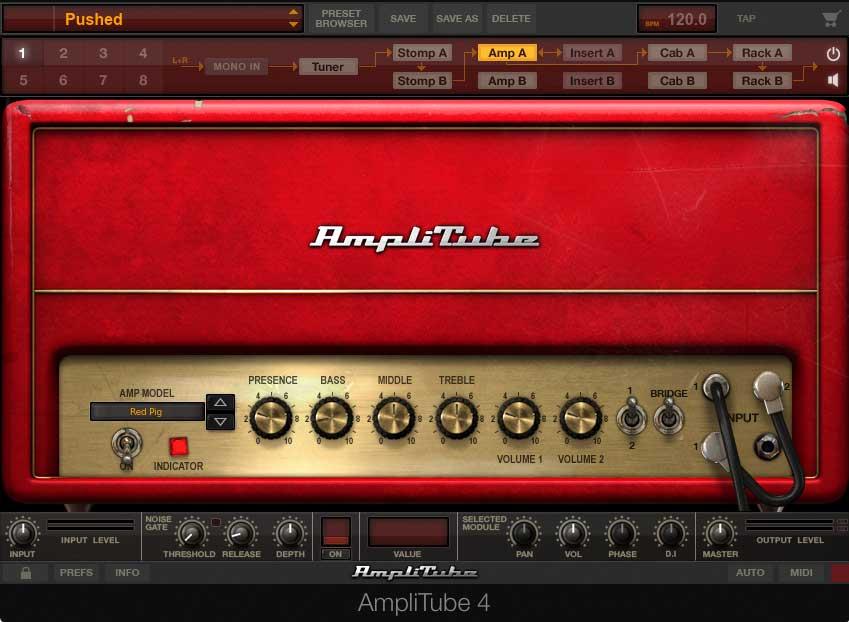 """AmpliTube 4 Plug-in mit dem als """"Red Pig"""" bekannt gewordenen Marshall Amp."""