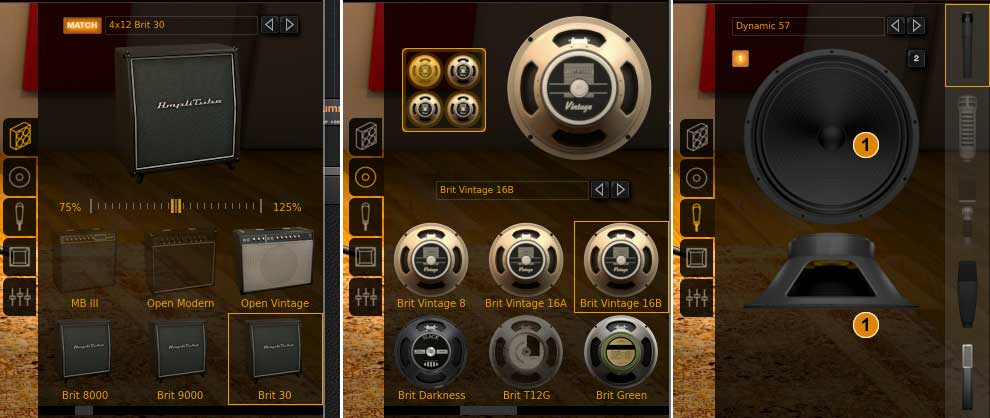 Umschalten mit den Icons für cabinets, speakers, mics, rooms, mixer