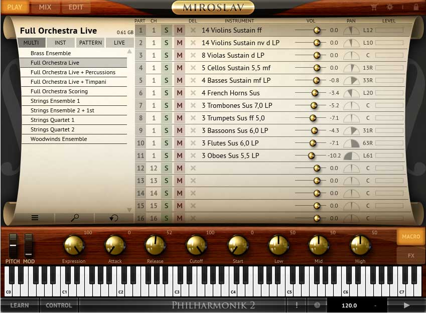 "Das Multi-Preset ""Full Orchestra Live"" mit 11 Parts"