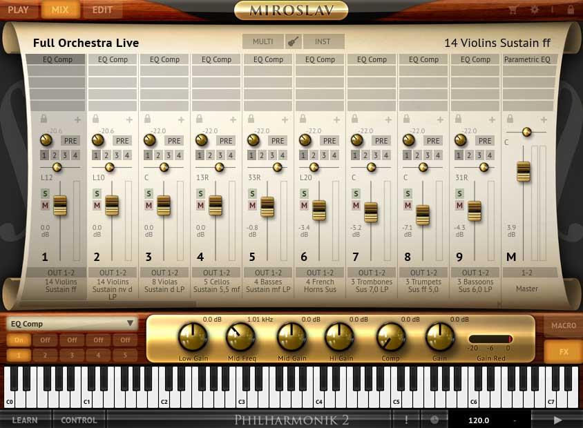 """""""Full Orchestra Live"""" – Mix-Page der ersten 8 Instrumente"""