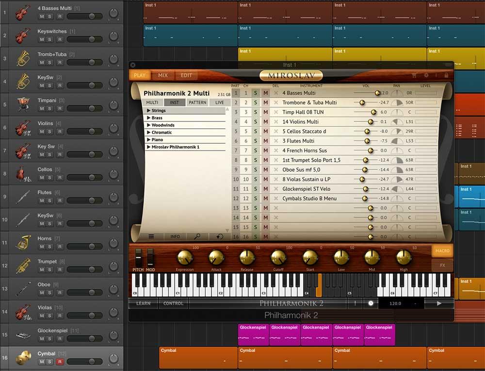 """So sieht es in Logic aus (Ausschnitt). Um mehrere MIDI-Kanäle für ein Plug-in verwenden zu können, muss man zunächst eine Spur vom Typ """"Software-Instrument Multitimbral"""" erzeugen."""