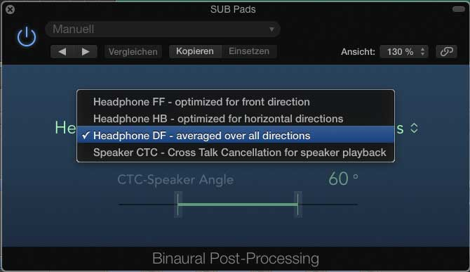"Plug-in ""Binaural Post Processing"" zum Summieren."