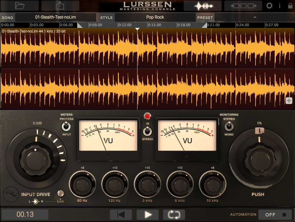 Standalone Mastering mit Waveform Display