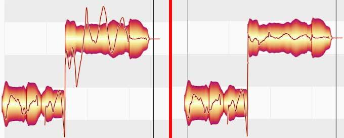 Links übertriebenes Vibrato, rechts bearbeitet