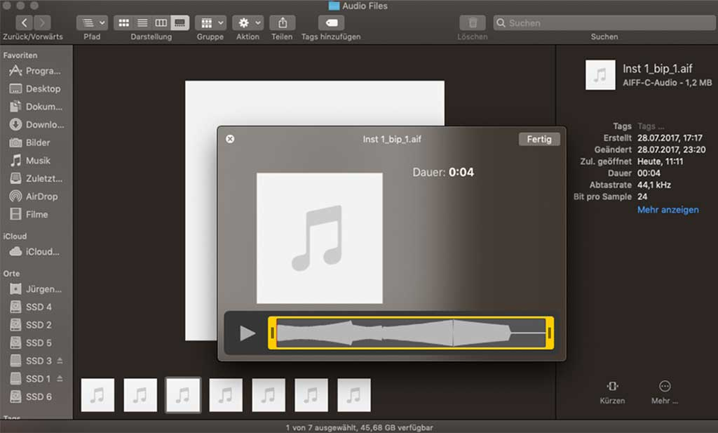 Ein Finder-Fenster mit Audio-Dateien in macOS Mojave