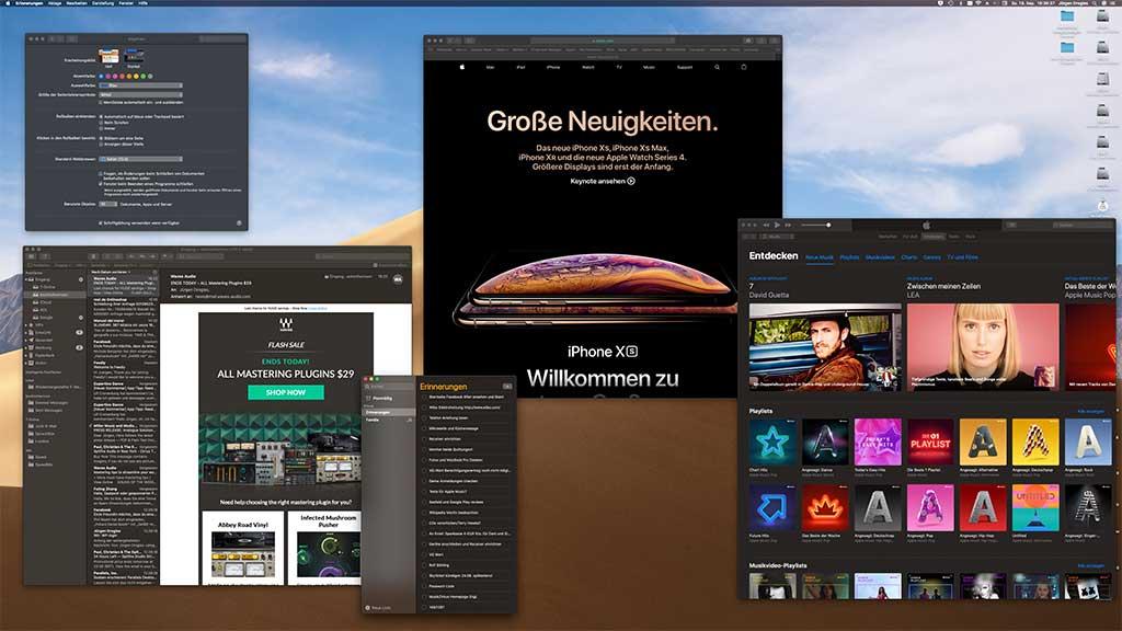 macOS Mojave: Apps von Apple unterstützen den Dark Mode.