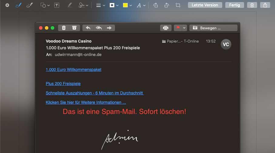 macOS Mojave, Anmerkung direkt im Bildschirmfoto und handschriftliche Signatur