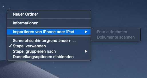 macOS Mojave: Foto oder Scan drahtlos von iPhone importieren