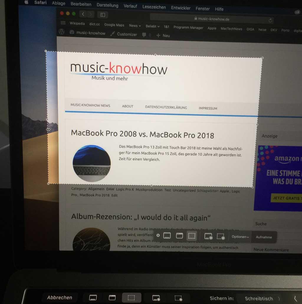macOS Mojave Bildschirmfoto Befehl+Shift+5