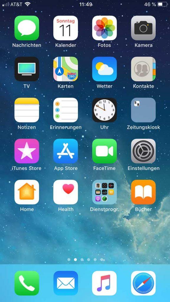 iPhone Startbildschirm