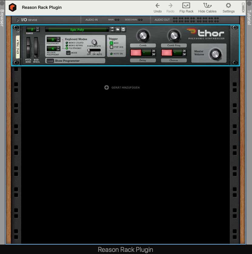 Synthesizer Thor im Rack